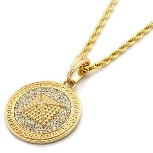 """Gold Pyramid Pattern 24"""" Rope Chain + Pendant"""